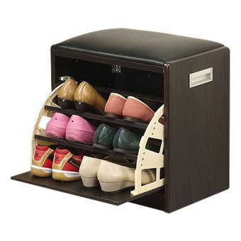 2 In 1 Shoe Cabinet Stool Storage Organizer Black   Small Part 48