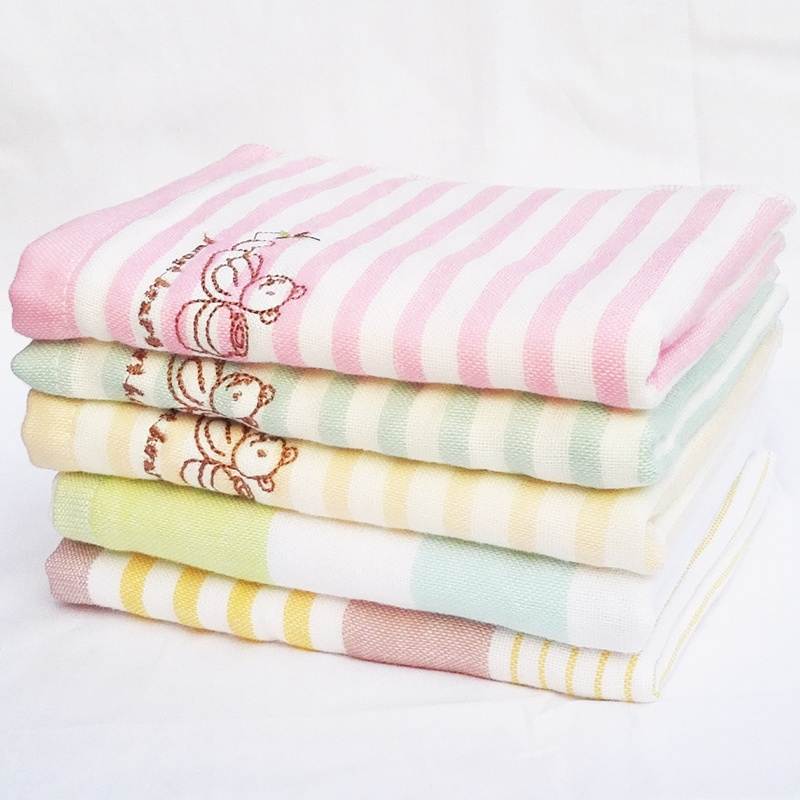 2 strip Bai le cute bear striped fresh gauze soft child towel double gauze towel wash towel