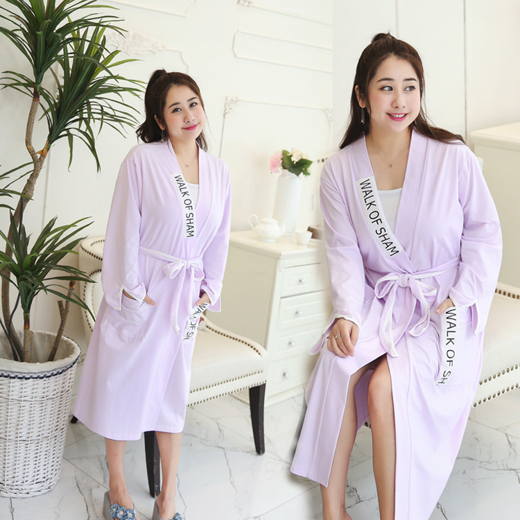 200 of fat mm Plus-sized long-sleeved Waist tie long section with a home clothes pajamas nightgown bathrobe female autumn and