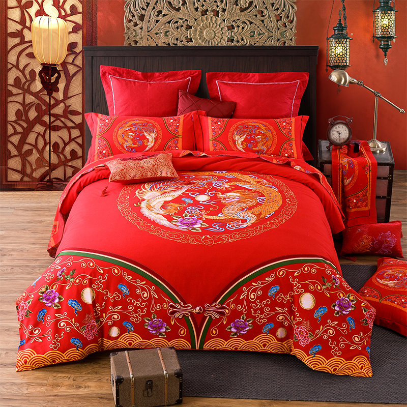 220x240 Chinese cotton red wedding quilt cover 4 piece