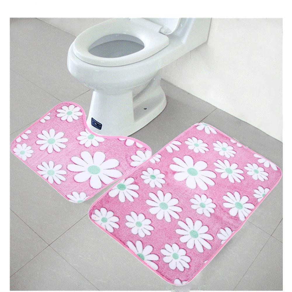 2pcs Coral Fleece Bathroom Memory Foam Rug Mats - intl