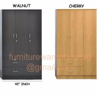3 Door Wardrobe Cabinet (Walnut) - 2