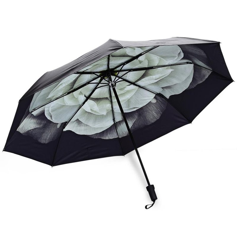 3 Folding 3D Flower Print Anti Uv Sunshade Women Parasol Umbrella(Green) - intl