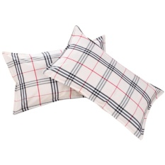 One Pair Cotton Pillow Cover Contracted Style Black & Red Grid Pattern Pillowcase Pillow Slip 4675cm