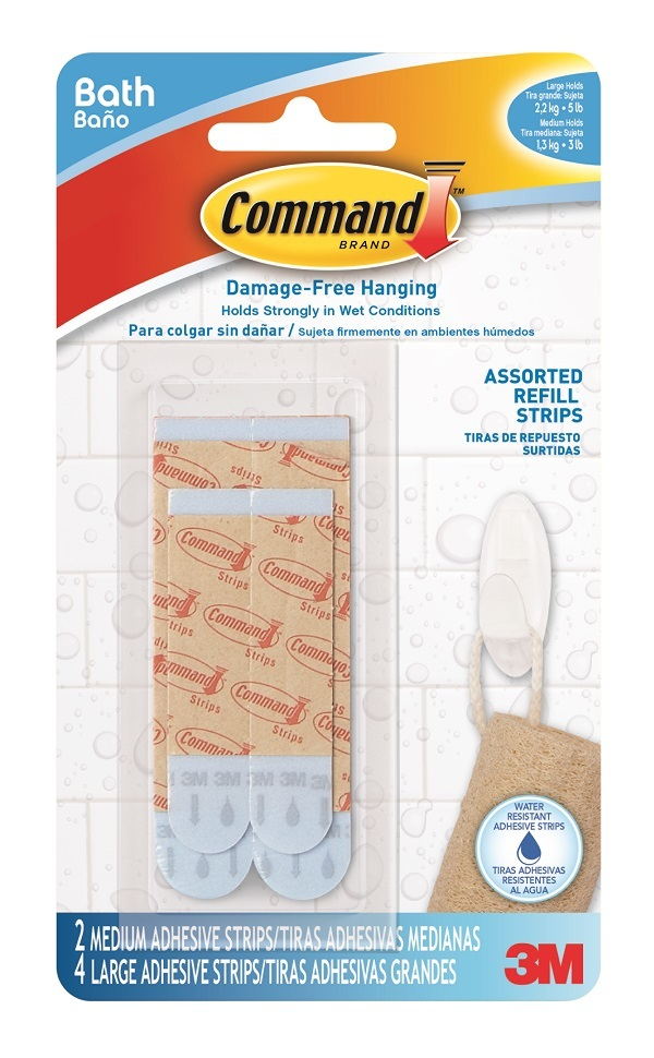 3M(TM) Command(TM) Water-Resistant Refill Strips-Assorted BATH-22