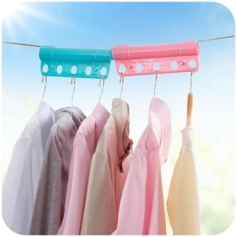3PCS Creative 5 Holes Plastic Foldable Fixed Clothes Hanger Lock Windproof Clothing Rack Lock - intl - 2