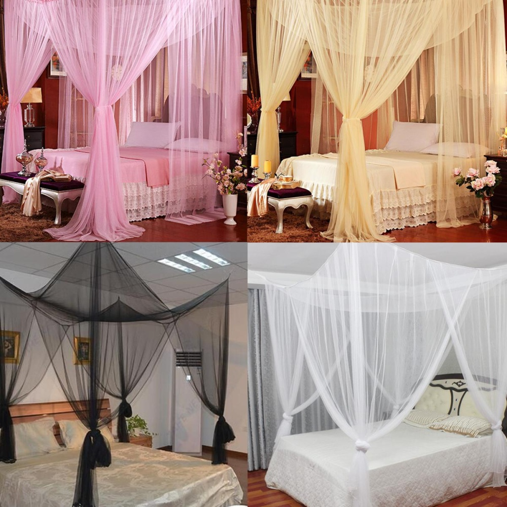 4 Corner Post Bed Canopy Mosquito Net Netting House Hotel Bedding Decor - intl