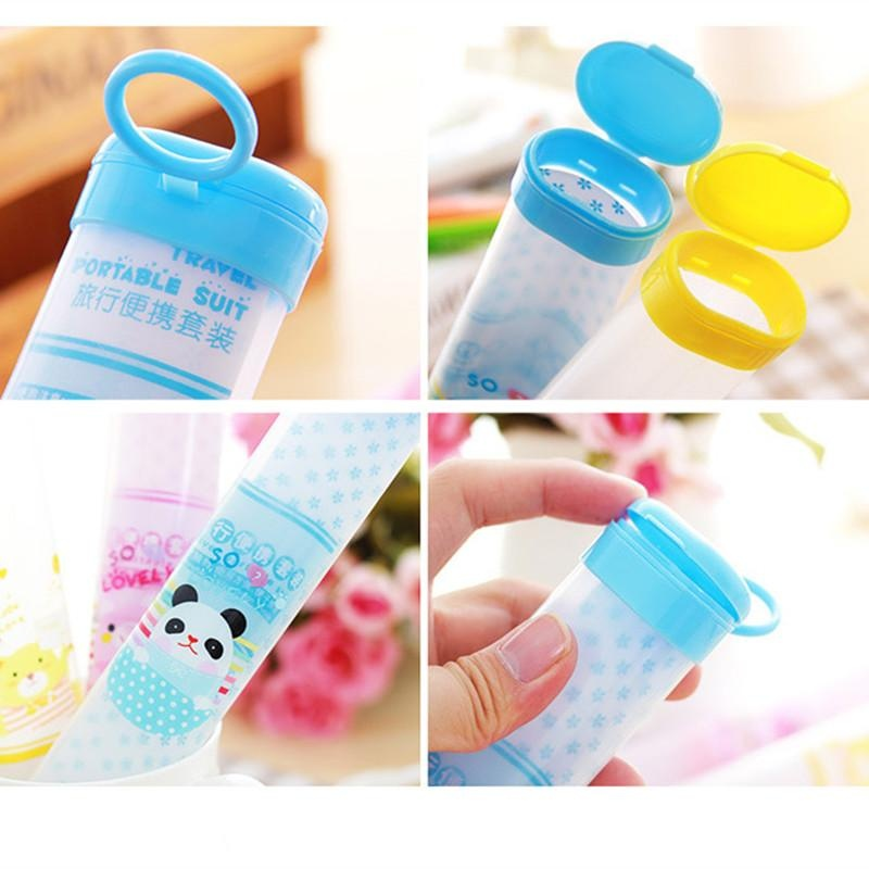 4ever 2pcs/set Portable Hanging Toothbrush Box Travel Toothbrush Barrel Chopsticks Storage Box - intl