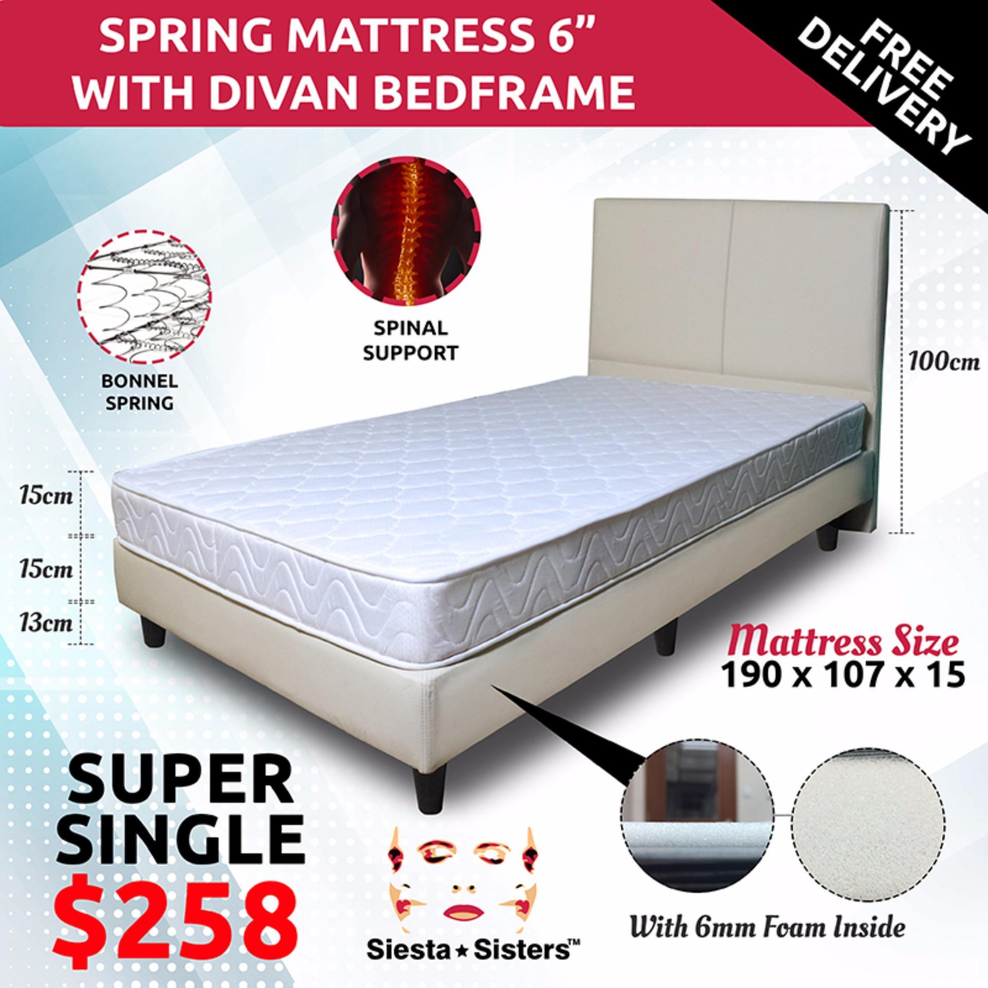 6 Inches Spring Mattress with Divan bed frame and headboard - Super Single  Size