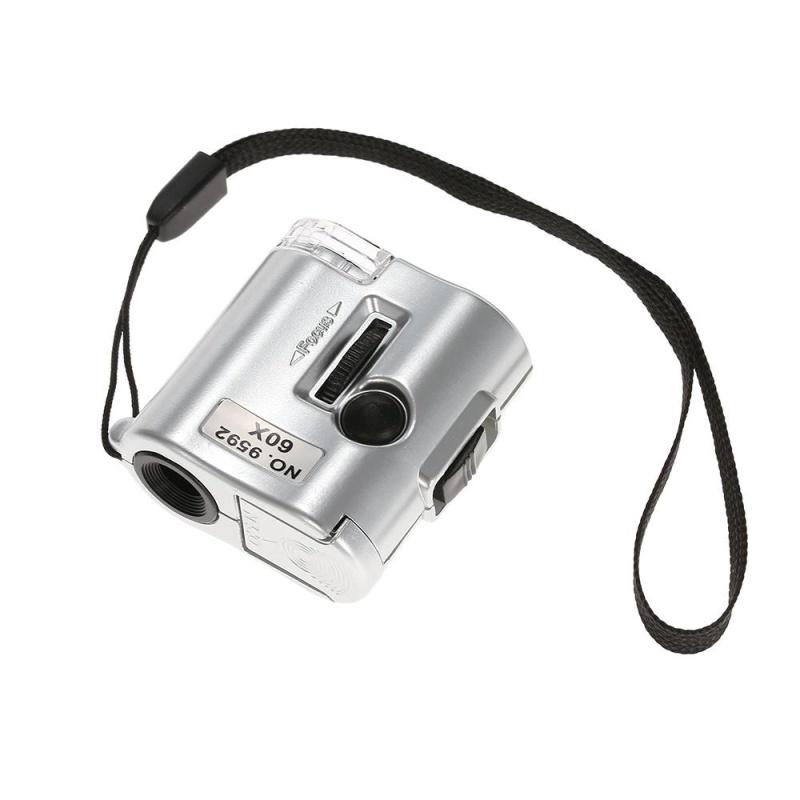 60X Mini Microscope Jeweler Loupe Lens Illuminated Magnifier Glass with LED UV Light - intl