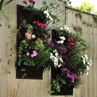... 7 Pocket Hanging Vertical Garden Planter For Walls Outdoor Indoor  (Black)   Intl