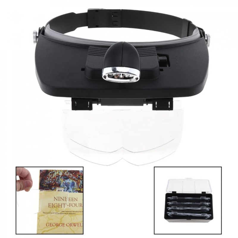 7X Headband Type Magnifying Glass with LED Light and 4 Magnifying Lens - intl