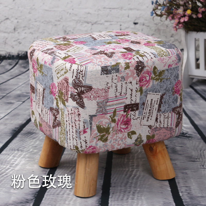 A product fabric wood rest storage stool small stool