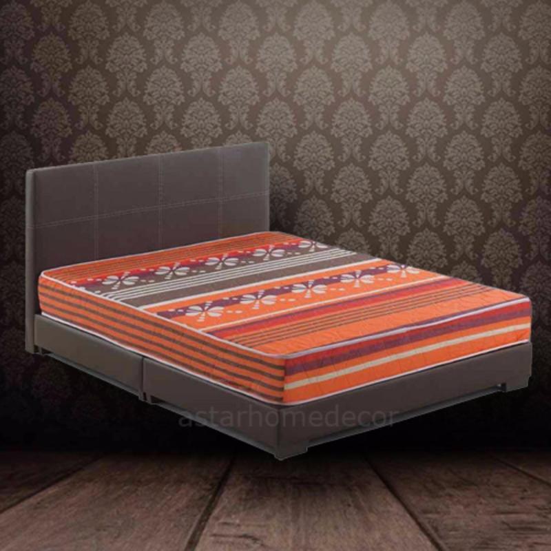 A-star Queen size Divan Bedframe (Brown) + Queen size HD Foam Mattress 8inch