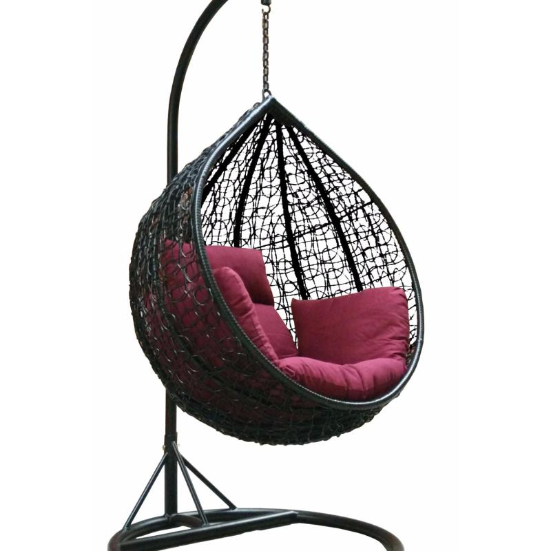 Amber Initial Black Rattan Swing Chair with maroon Cushion