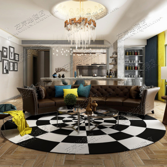 American Black And White Geometric IKEA Model Room Round Carpet Living Room  Coffee Table Bedroom Bedside