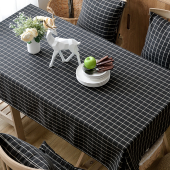 American Pastoral Black And White Plaid Tablecloth Fabric Linen Small Fresh  IKEA Table Cloth Coffee Table