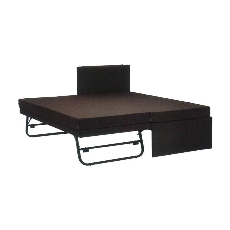 ANDRES 3 IN 1 Super Single With Super Single Pull Out Bed + Folding Leg (PVC Brown)