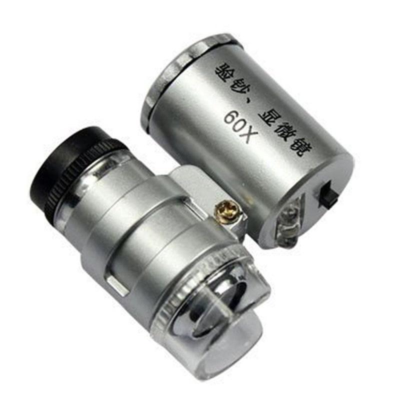 aoyou Mini 60x LED Aluminium Pocket Microscope Magnifier Adjustable Loupe - intl