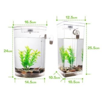 Aquarium Aquarium goldfish lazy mini plastic creative ecological aquarium square cylinder