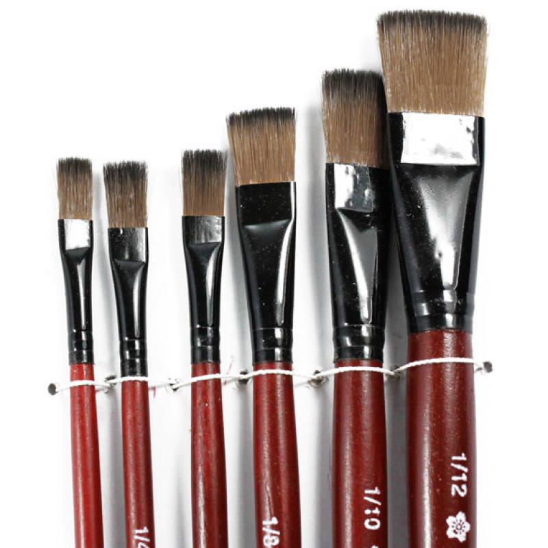 Art Artist Supplies 6 Brown Nylon Paint Brushes