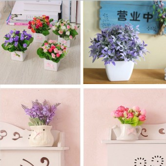 Artificial Flowers Decorative Flowers Potted Mini Potted Small Potted Home Decorations Simulation Flower Small Ornaments - 2
