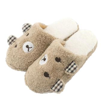 Bear Winter Warm Antiskid Slippers Soft Plush Indoor Couple HomeCoffee xl