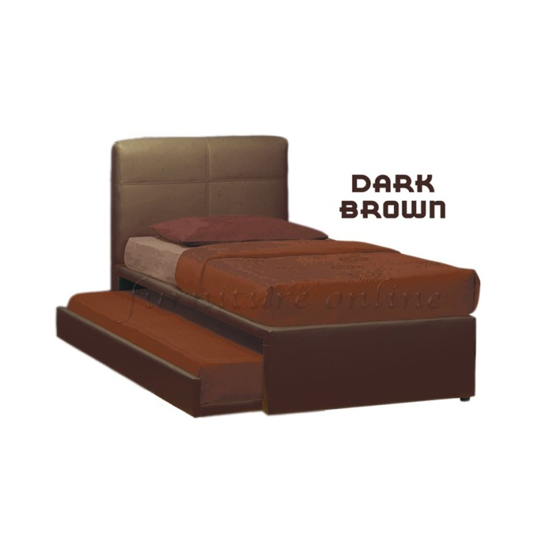 [Bed Frame + Mattress] Alonso Quality Divan Bedframe with Pull-out Bed + Super Foam HDF Mattress (Brown)