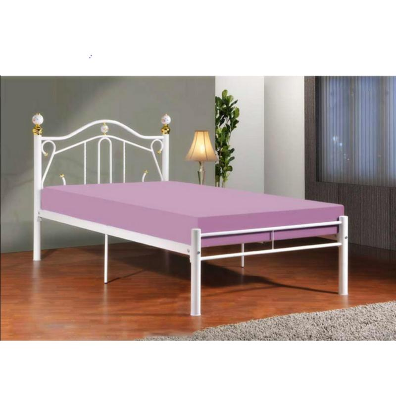 BFF-Maria Single Size Metal Bed (White)