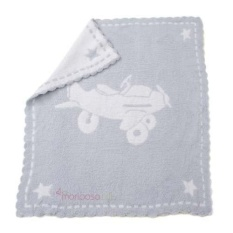 (Blue & White) - Barefoot Dreams Scallop Cozychic Baby Receiving Blanket - intl
