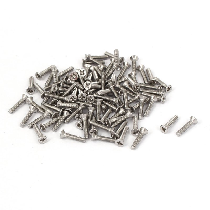 BolehDeals 100Pcs M2x10mm Stainless Steel Flat Head Cross Screw Pan Head Screws Set - intl