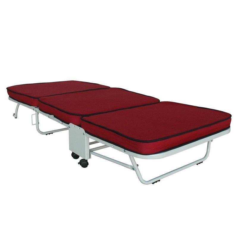 Box Furniture Aster Folding Bed with Mattress (Maroon)