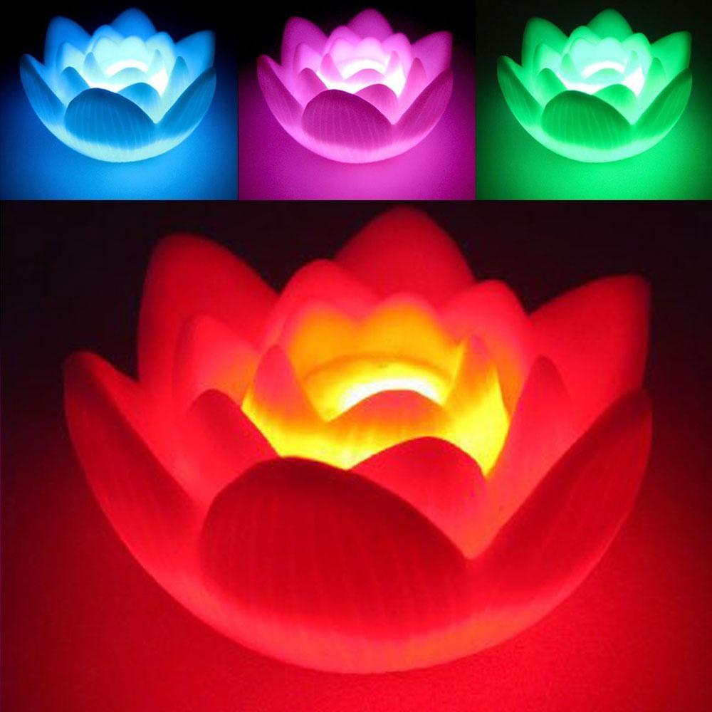 Color Changing Led Lotus Flower Love Mood Romantic Lamp Night Light