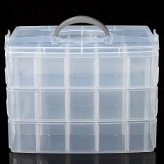Compartment Box Clear Plastic Storage Organiser Tool Case Jewellery Craft Beads Large - intl