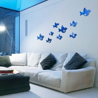 Cool Bedroom Cabinet Decorative Acrylic Mirror Bird Selfadhesive Wall Stickers Living Room Den