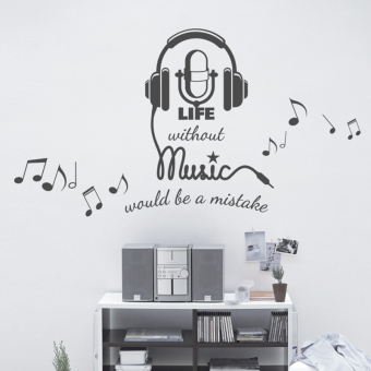 Cool Notes Music Headset Decorative Wall Stickers Creative Living Room Bedroom Art Classroom Background Layout Sticker