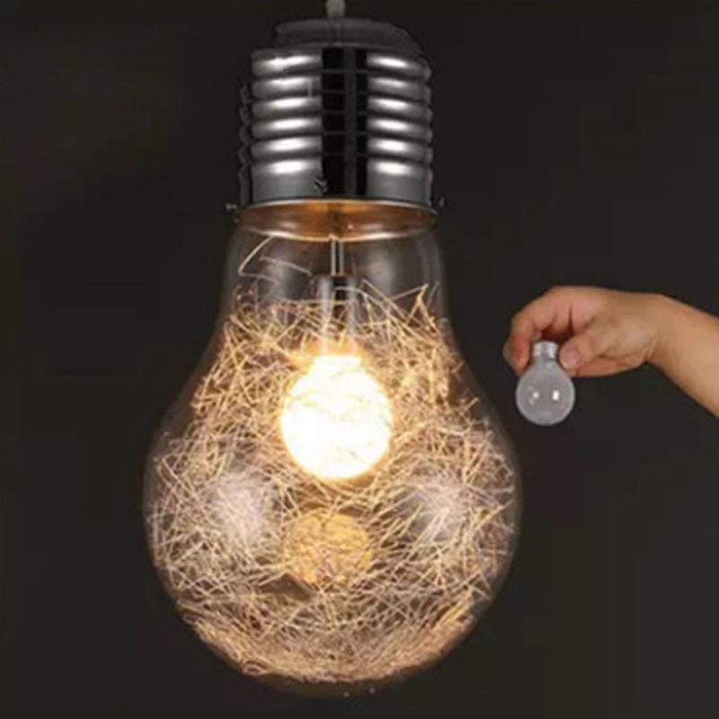 Creative Pendant Lights Vintage Glass Big LED Bulb Chandelier Bar Warehouse Ceiling Lamp Specification:S Golden