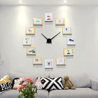 Creative Wood Photo Wall Modern Minimalist Fashion Nordic Living Room Wall  Clocks Photo Frame Wall Combination Part 89