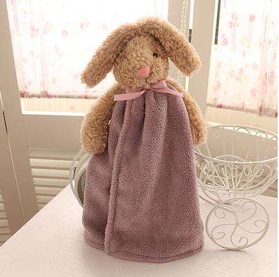 Ealth house cute rabbit coral velvet super absorbent super soft hanging towel to wipe hand towel creative towel boy