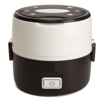 Electric 1.3L Portable Lunch Box Mini Rice Cooker Steamer 2Layer Stainless Steel - 4