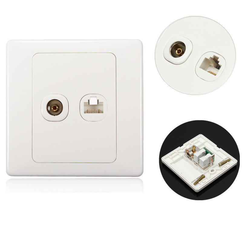Electric RJ45 socket + TV Socket Wall Mount Coaxial Outlet Faceplate Connector
