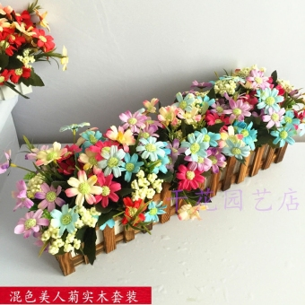 European Simulation Flower Wood Fence Sunflowers Suit TV Wall Cabinet Coffee Table Living Room Desk Office