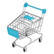 fashiondeal MINI Shopping Cart Kids Toy Creative Desktop Shelves Puff Storage Rack Blue - intl