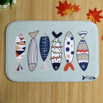 Fish Door Kitchen Carpets Memory Foam Bathroom Absorbent Non-slipMat - intl