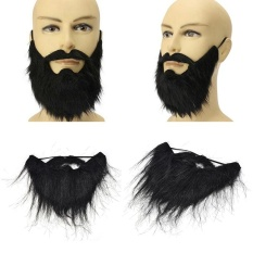 Funny Costume Party Male Man Halloween Beard Facial Hair Disguise Game Black Mustache - intl