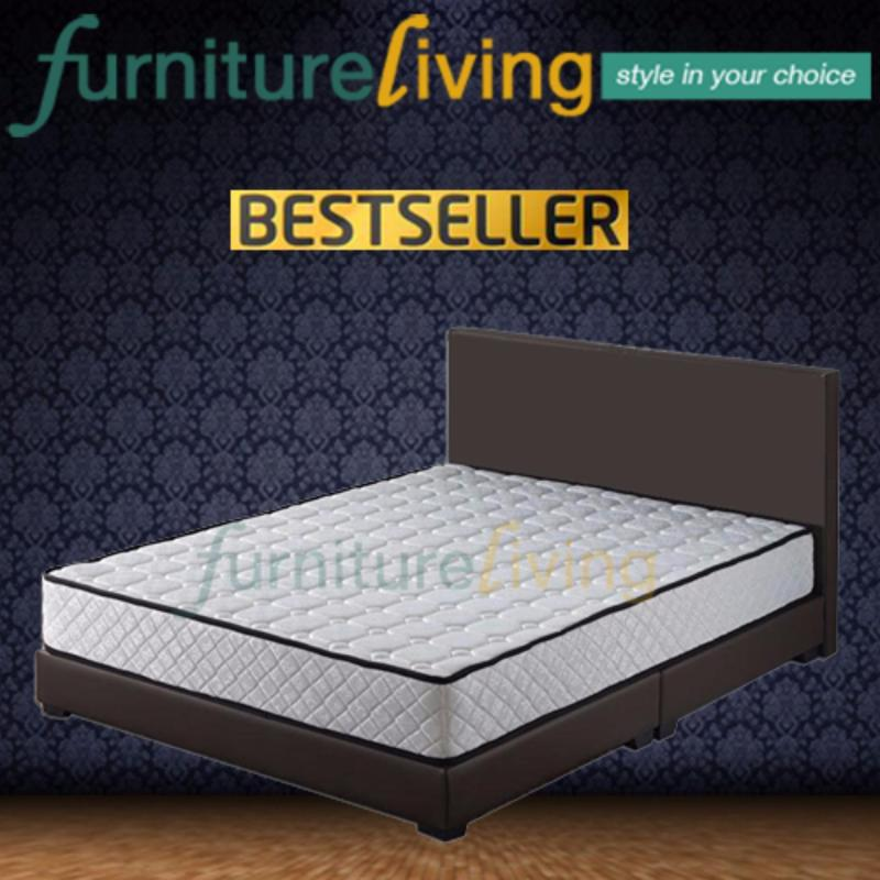 Furniture Living Queen size Divan Bedframe (Brown) + Queen size Spring Mattress 8.5inch