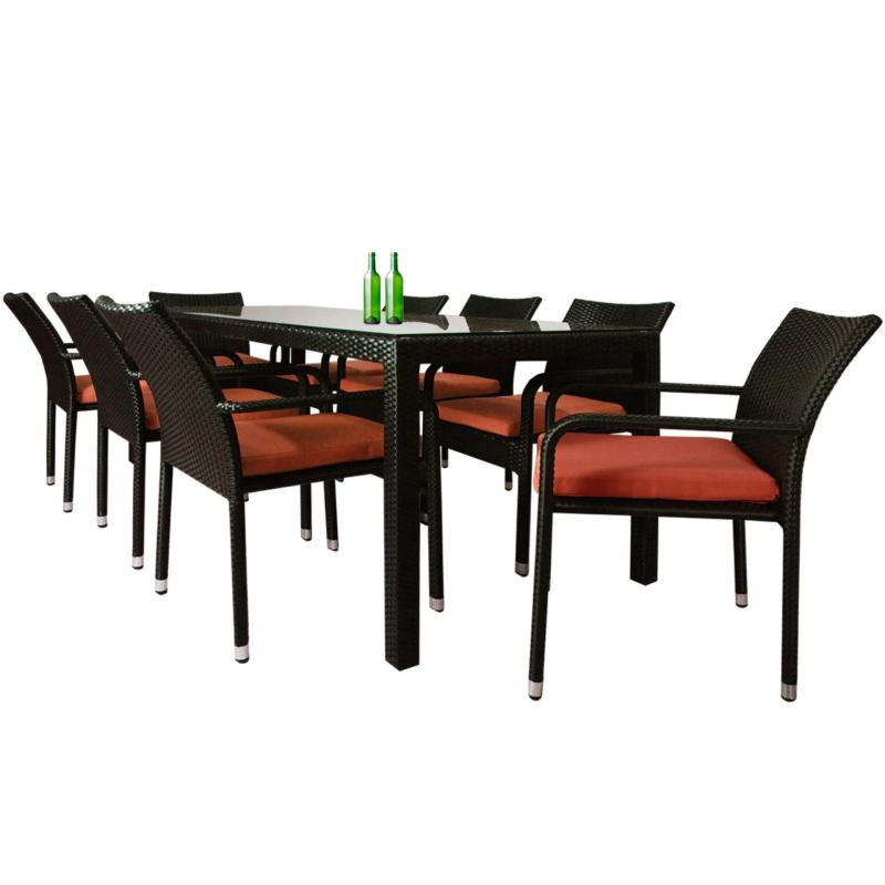 Geneva 8 Chair Dining, Orange Cushion (2 Year Warranty)