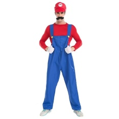 Halloween Costume Male SuperMario Mario and Luigi Brothers Plumbers Overalls Stage Performance Cospaly Clothing, Size: XL, Bust: 128cm, Clothes Long:62cm, Long Pants:110cm - intl