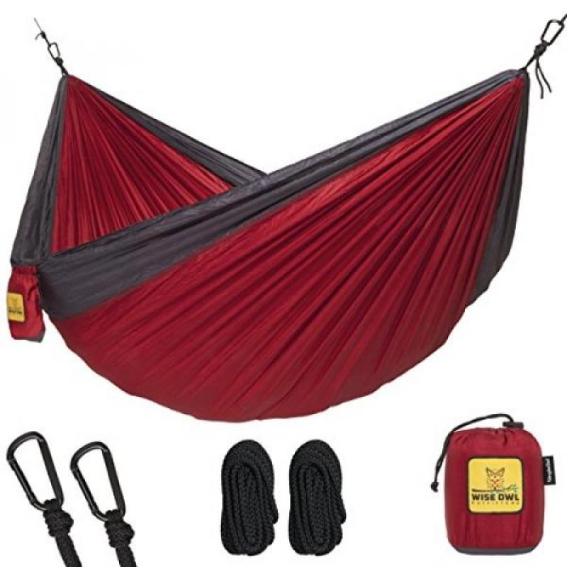 Hammock for Camping Single & Double Hammocks - Top Rated Best Quality Gear For The Outdoors Backpacking Survival or Travel - Portable Lightweight Parachute Nylon SO Red & Charcoal