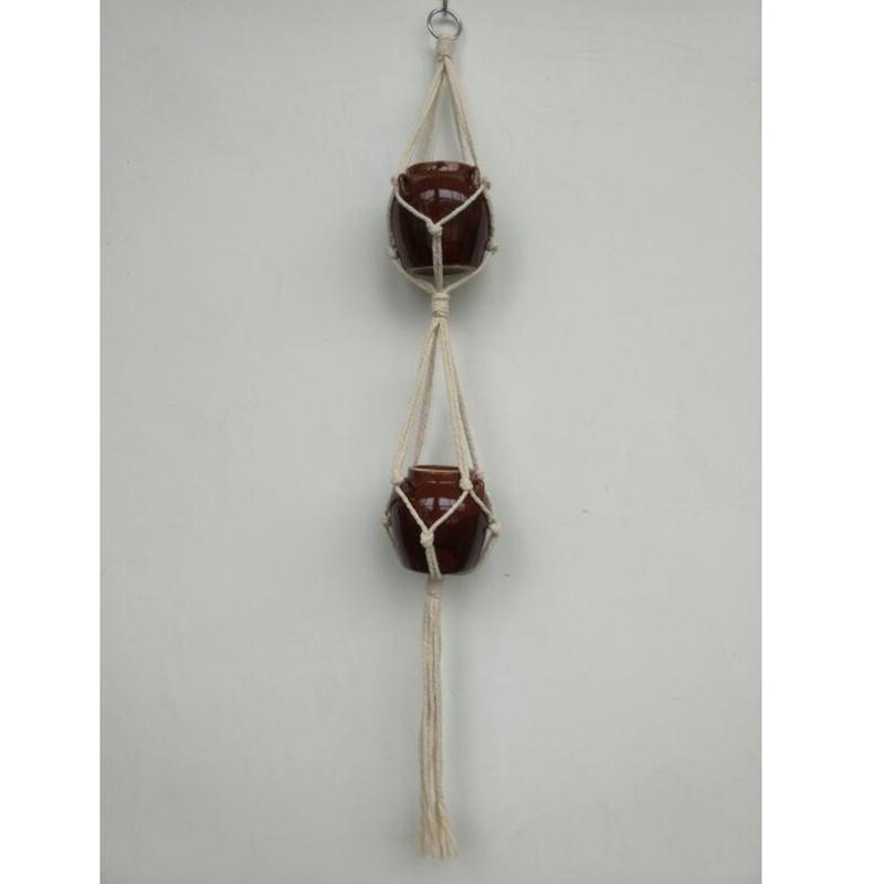 Handcrafted Ropes Hanging Basket Bag Flowers Pot Holder Hanger Creative - intl